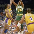 Despite a losing regular-season record (39-43), the seventh-seeded Sonics knocked off the No. 2 Mavs (55-27) three games to one -- this after allowing 151 points in a Game 1 loss. The Sonics were led by Xavier McDaniel (left, against Los Angeles later in the playoffs) and Tom Chambers while the Mavs struggled to make up for the lackluster play of Mark Aguirre, who was suffering from strep throat. The Sonics made it past Houston in the semifinals before being swept by the eventual champion Lakers.